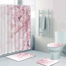 romantische kirschblüte dusche vorhänge bad vorhang set rosa