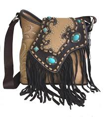 montana west western ladies crossbody purse with fringe tan and