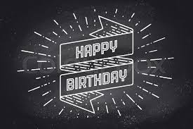 Vintage ribbon banner and drawing in engraving style with text Happy Birthday Hand drawn design element Happy Birthday typography for greeting card