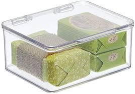 mdesign badezimmer box mit deckel praktische kunststoff box für pflegeprodukte medikamente und handtücher stapelbare aufbewahrungskiste