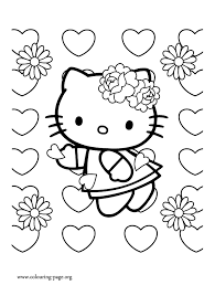 Hello Kitty On Valentines Day Coloring Page