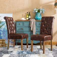 Roundhill Furniture Habit Faux Leather Tufted Parsons Dining Chair