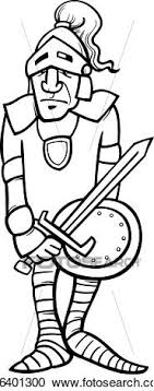 Clipart Of Knight With Sword Cartoon Coloring Page K16401300