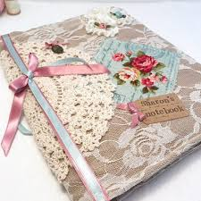 Vintage Lace Style Notebook Diary Duck Egg Rose