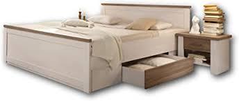 luca stilvolle bettanlage 180 x 200 cm mit 2x nachtkommoden 2x bettkästen schlafzimmer komplett set in pinie weiß trüffel 186 x 91 x 205 cm