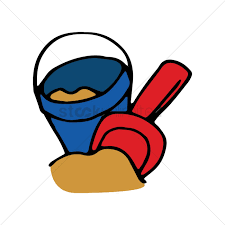 Toy Bucket And Spade At The Beach Vector Graphic