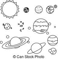 solar system clipart black and white 2