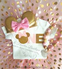 Pink And Gold Birthday Themes by Girls Pink U0026 Gold One Minnie Mouse Shirt For First Birthday