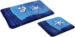 fd workstuff badematten garnitur sealife blau 2 teile badvorleger 50 x 90 cm wc vorleger 50 x 45 cm ohne ausschnitt bad badewannen
