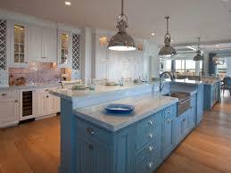 Kitchen Cool White Coastal Ceramic Subway Tile Backsplash Blue Painted Island Industrial Pendant Beadboard
