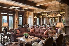 Rustic Light Fixtures Family Room With Bar Island Image By Locati Architects
