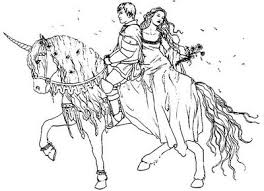 Prince And Princess On Horse Printable Coloring Pages