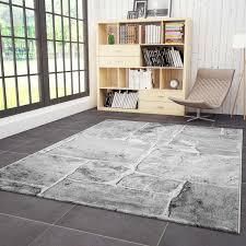teppich wohnzimmer modern design stein mauer optik in grau