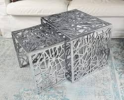 couchtisch 2er set modern wohnzimmertisch sofatisch beistelltisch tisch aus metall aluminium silber luxus 49 cm