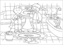 Caillou And His Friend Messing Up The Bathroom Coloring Pages