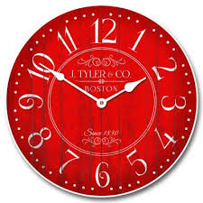 Large Wall Clock Harbor Red Whisper Quiet Non Ticking