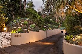 los angeles driveway retaining wall landscape mediterranean with b