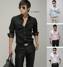 Mens Long Sleeve Shirts Men Business Shirt Dress Clothing Black For