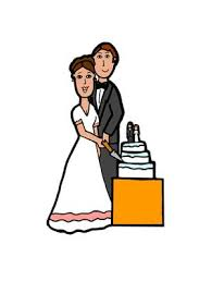 Clips Ahoy s Free Wedding Clipart A bride and groom cutting the wedding cake