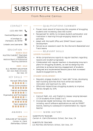 Substitute Teacher Resume Samples & Writing Guide | Resume Genius Teacher Resume Samples And Writing Guide 10 Examples Resumeyard Resume For Teachers With No Experience Examples Tacusotechco Art Beautiful Template For Teaching Free Objective Duynvadernl Science Velvet Jobs Uptodate Tips Sample To Inspire Help How Proofread A Paper Best Of Objectives Atclgrain Format Example School My Guitar Lovely Music Example