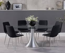 Paloma 180cm Oval Glass Dining Table With Helsinki Fabric Dining Chairs