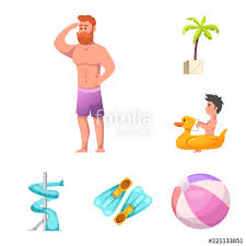 Vector Design Of Pool And Swimming Sign Set Activity Stock Illustration