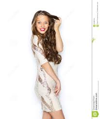 happy young woman teen girl in fancy dress stock photo image