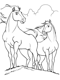 Click To See Printable Version Of Spirit And Rain Horses Coloring Page