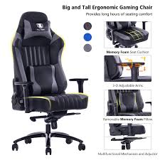 VON RACER Big And Tall 400lb Memory Foam Gaming Chair-Adjustable Tilt,  Angle And 3D Arms Ergonomic High-Back Leather Racing Executive Computer  Desk ...