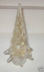MURANO ART GLASS CHRISTMAS TREE GOLD CLEAR ITALY
