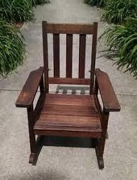child mission antique oak rocker rocking chair possibly stickley
