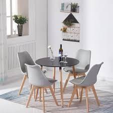 hj wedoo esstisch mit 4 esszimmerstühle grau skandinavischen essgruppe 80x80x70cm für esszimmer essgruppe
