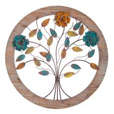 Wood Metal Wall Decor Round Tree