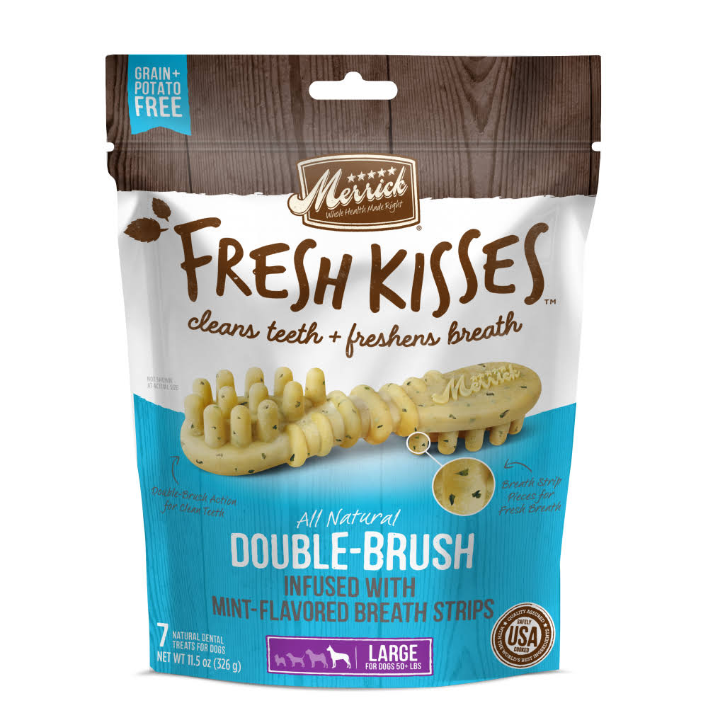 Merrick Fresh Kisses Double Brush Mint Dental Treats Large Dog