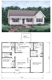 One Level Home Floor Plans Colors Ranch Homeplan 45476 Has 1258 Square Feet Of Living Space 3