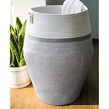 goodpick groß wäschekorb wäschesammler baumwolle seil korb für aufbewahrung kissen decken im wohnzimmer 65cm hoch weiß und grau