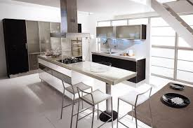 Gorgeous Black And White Kitchen Decor Design Idea With Open Concept Extended Bar