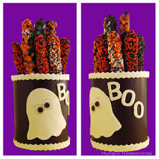 Halloween Pretzel Rods by How To Make Chocolate Canisters Filled With Halloween Treats