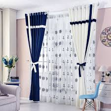 Simple Style Window Curtain Solid Color Stitching Blackout Blue And White For Living Room Bedroom