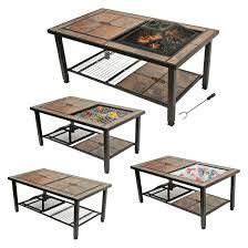 leisurelife 25 4 in 1 rectangular coffee table woodburning