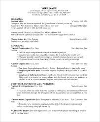 College Resume Outline Format