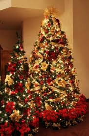 2013 LED Gold Christmas Tree Decors Decorations With Poinsettia Decor Ideas