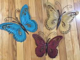 Metal Butterfly Wall Art Trio Indoor Outdoor 3D Decor EBay