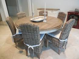 60 DINING TABLE WITH GREY WICKER CHAIRS Coastal Dining Room