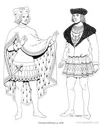 Renaissance Costumes And Clothing Coloring Pages 5