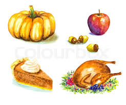 Thanksgiving day set with roasted turkey grape pumpkin acorns apple pie watercolor vector illustration Stock Vector