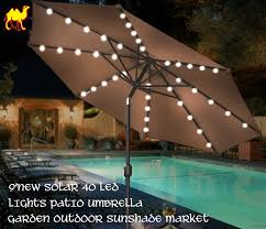 Patio Umbrella With Netting by Amazon Com Strong Camel 9 U0027new Solar 40 Led Lights Patio Umbrella