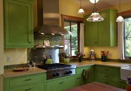 Rustic Green Kitchen Cabinets Modern Home Interiors