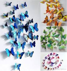 Sticker Art Design Decal Wall Stickers Home Room Decor 3D Butterfly Decoration Colorful Living Bedroom