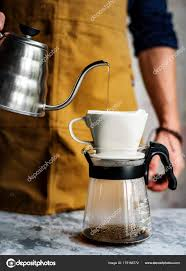Barista Coffee Pot Pouring Hot Drip Concept Original Stock Photo